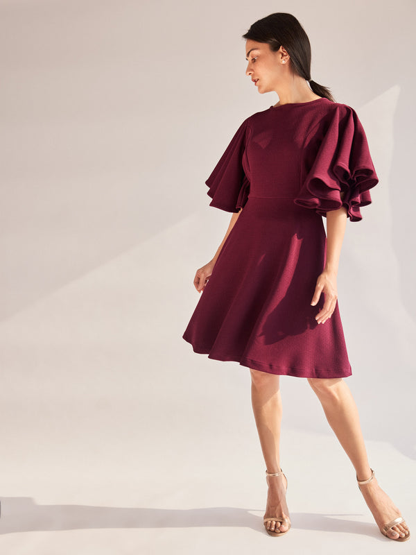 Burgundy Flutter Sleeve Skater Dress
