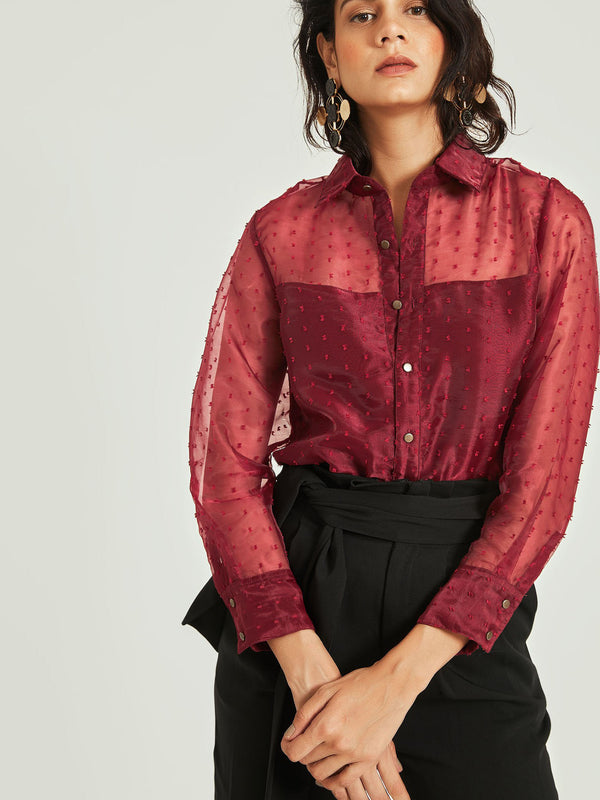 Burgundy Sheer Yoke Shirt
