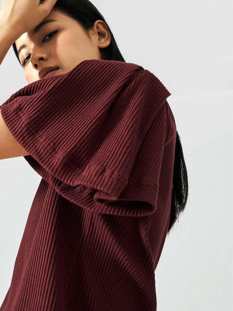 Burgundy Bell Sleeve Top