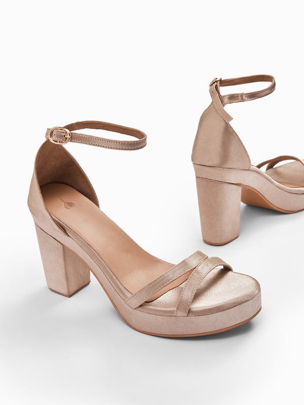 Champagne Ankle Strap Block Heels