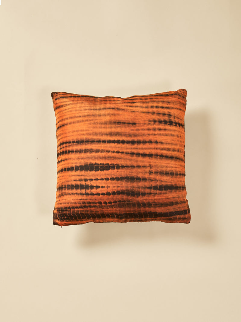Cocoa Stripe Tie & Dye Cushion Cover