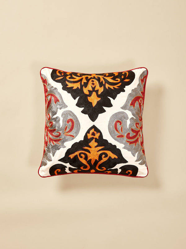 Damask Cotton Piping Cushion Cover Medium