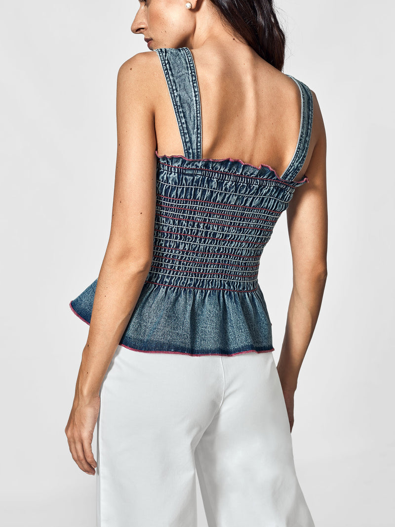 Denim Smocked Cami