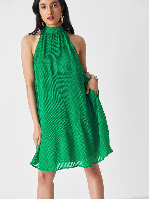 Emerald Sleeveless Pleated Dress