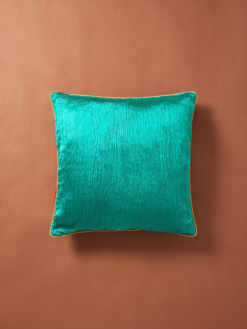 Emerald Crust Art Silk Piping Cushion