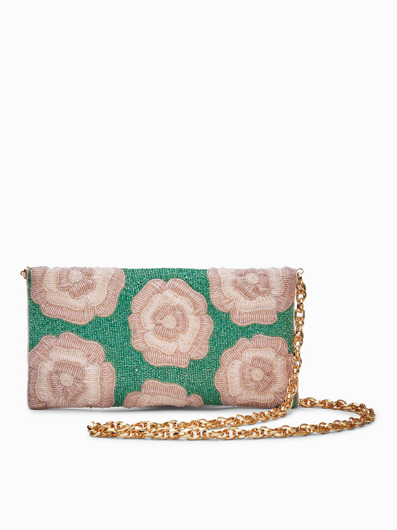 Fern Beaded Floral Clutch