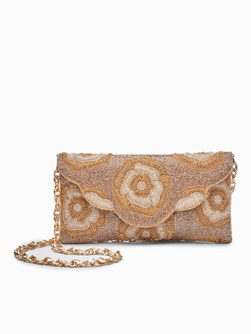Gold Beaded Floral Clutch