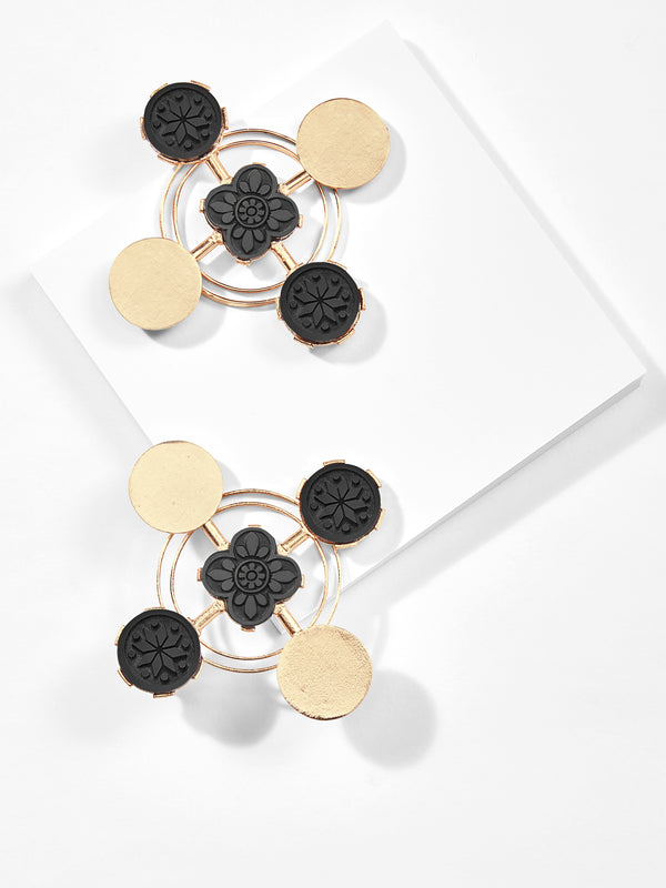 Gold Onyx Cross Earrings