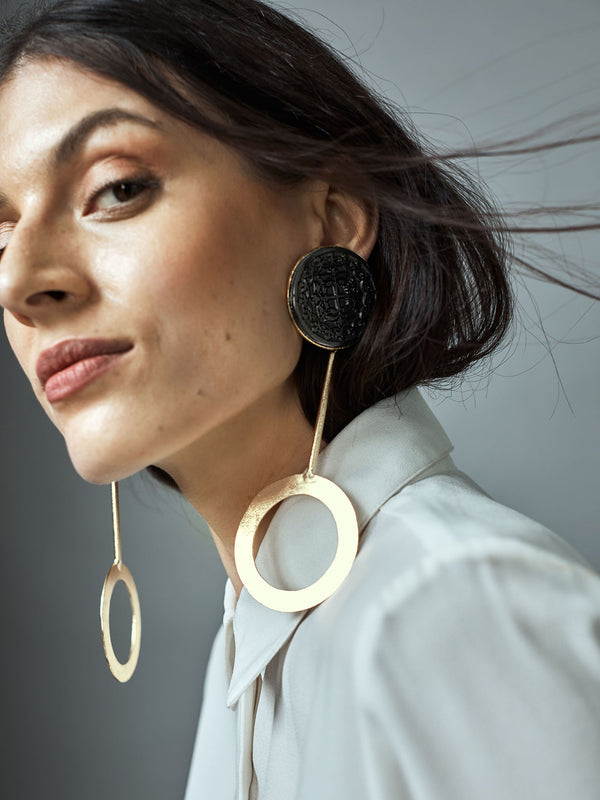 Gold Dual Circle Earrings