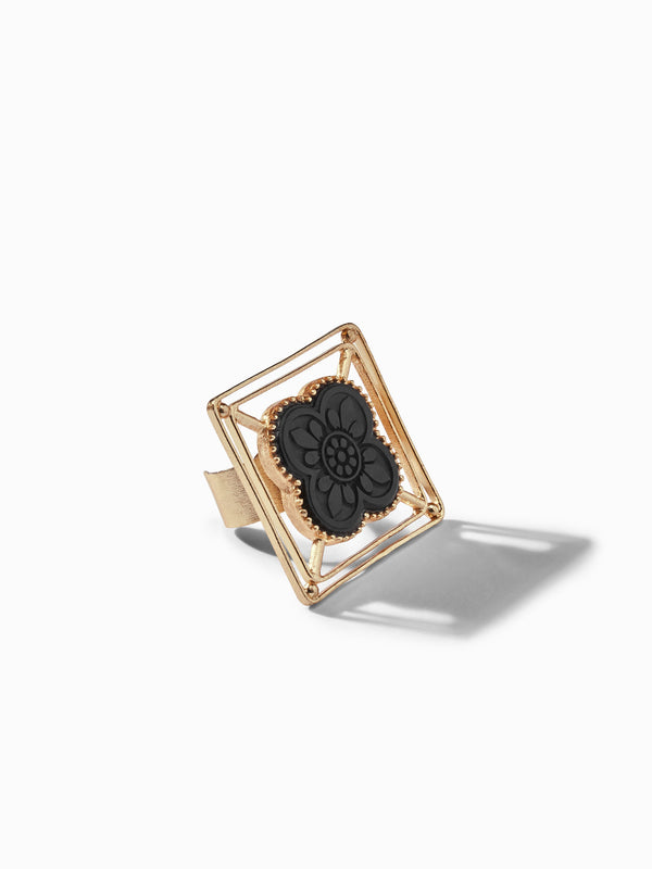 Gold Onyx Hollow Ring