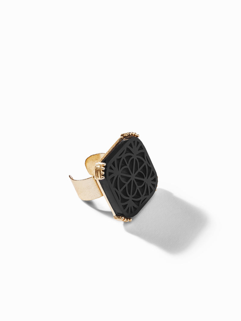 Gold Onyx Square Ring
