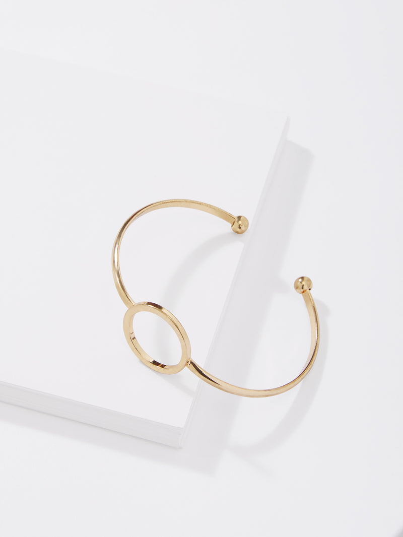 Gold Round Hollow Cuff