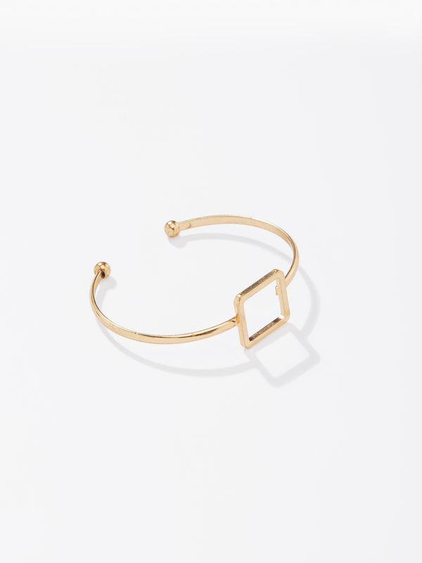 Gold Square Hollow Cuff