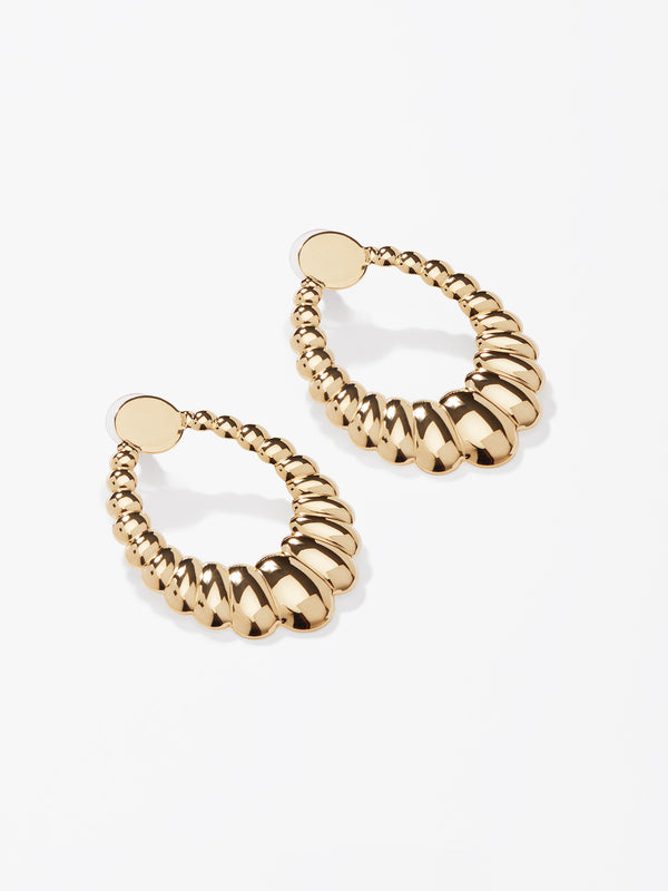Gold Textured Oval Earrings