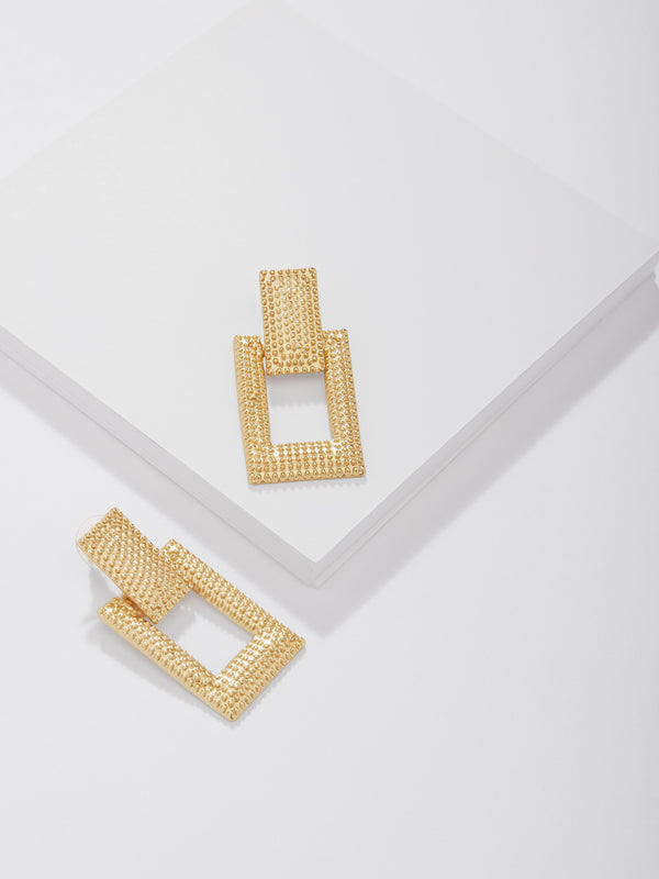 Gold Textured Rectangle Earrings