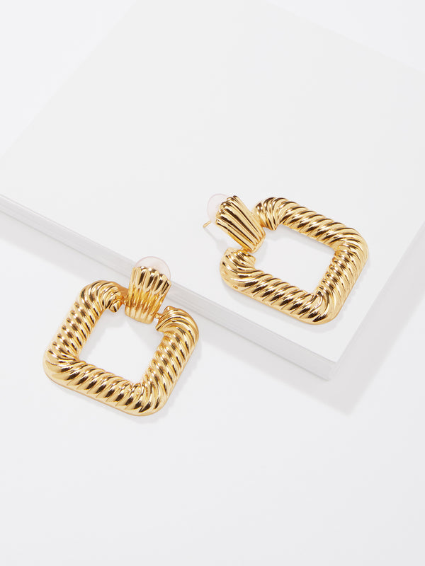 Gold Textured Square Earrings