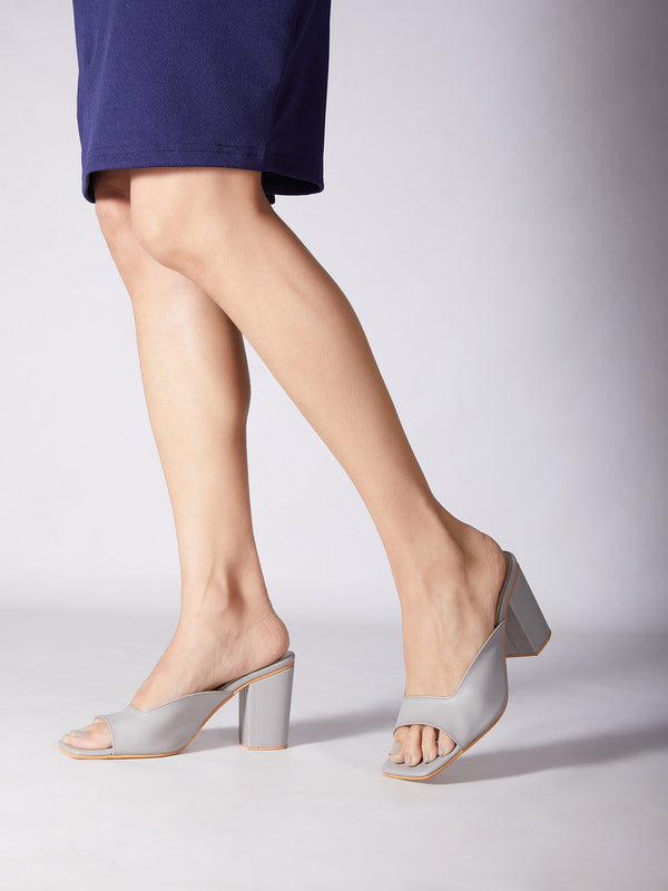 Grey Square Toe Block Heels