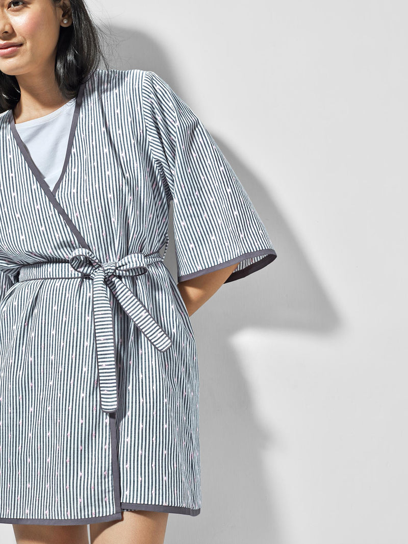 Grey & White Polka Sleep Robe