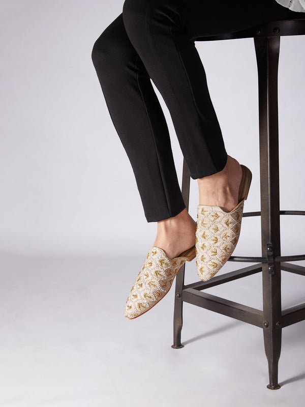 Ivory Embroidered Mules