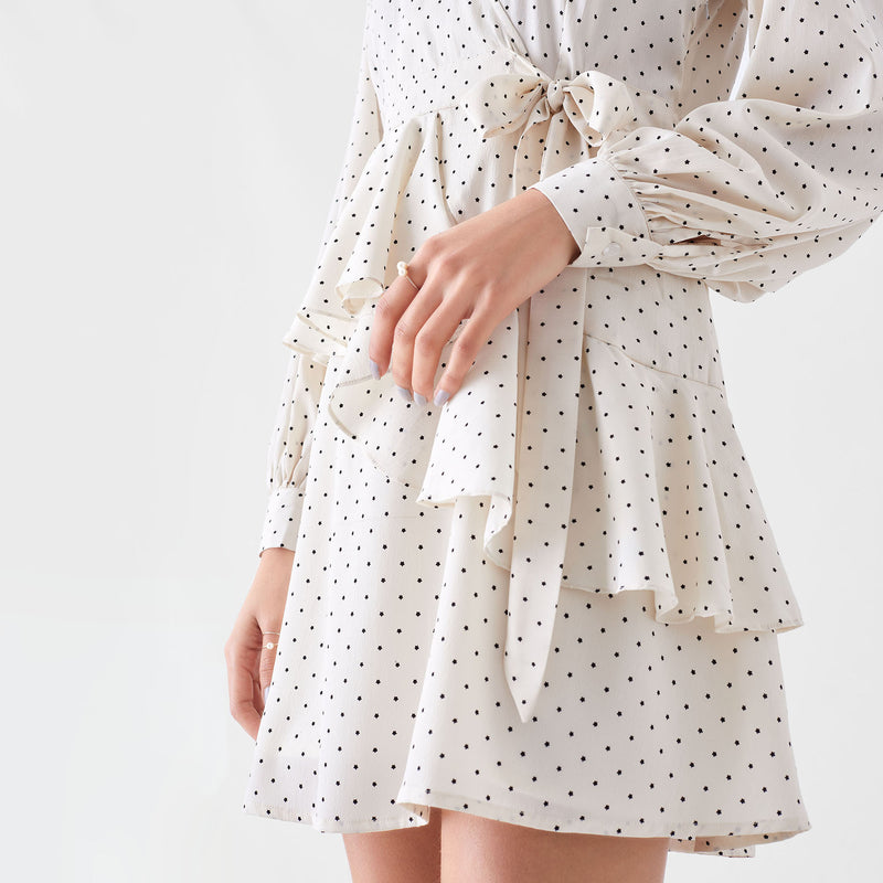 Ivory Printed Overlap Dress