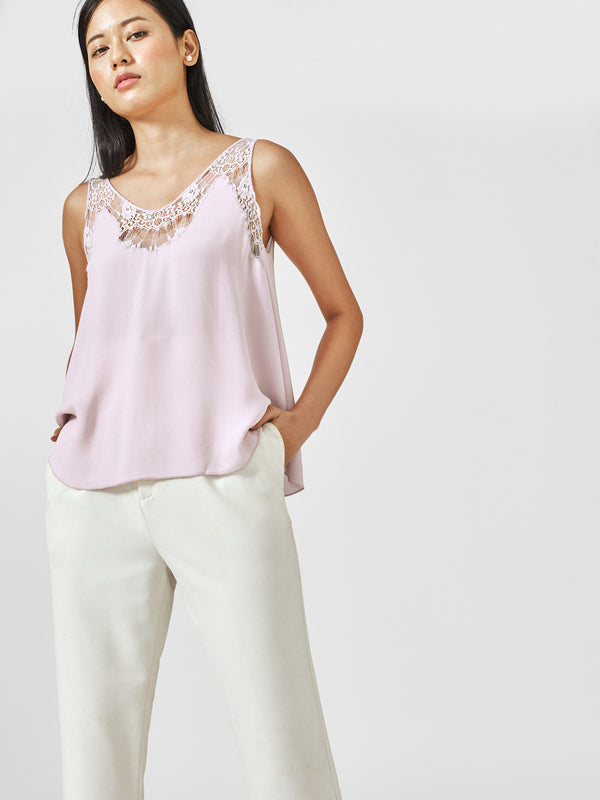 Lilac Lace Flare Cami
