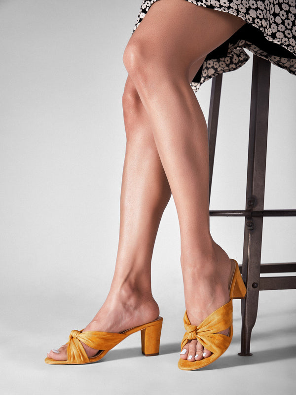 Mustard Knotted Block Heels
