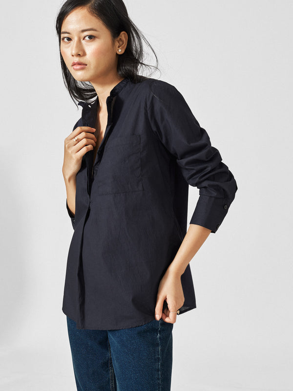 Midnight Mandarin Collar Shirt