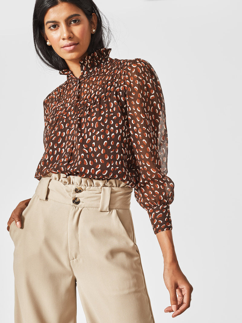 Mocha Printed High Neck Shirt