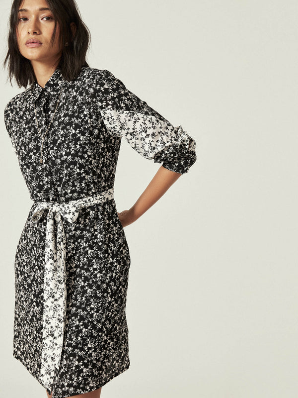 Monochrome Floral Shirt Dress