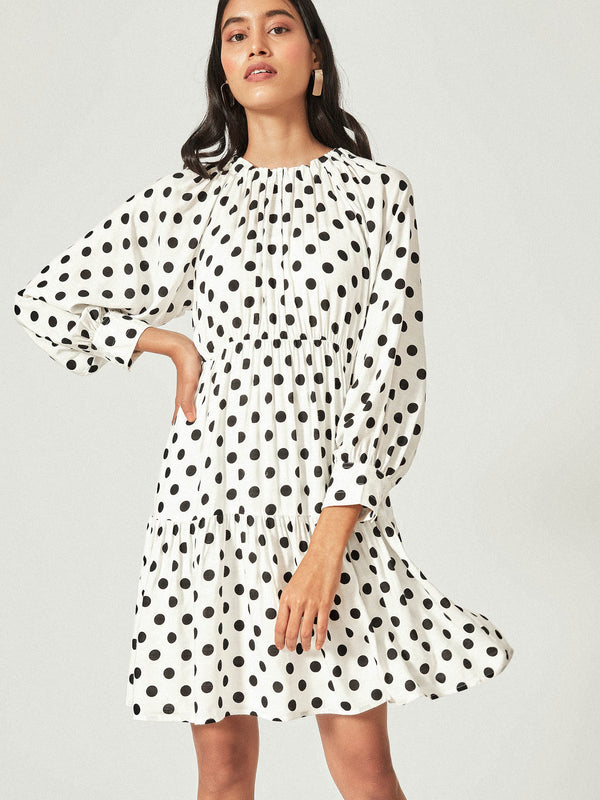 Monochrome Polka Tiered Dress