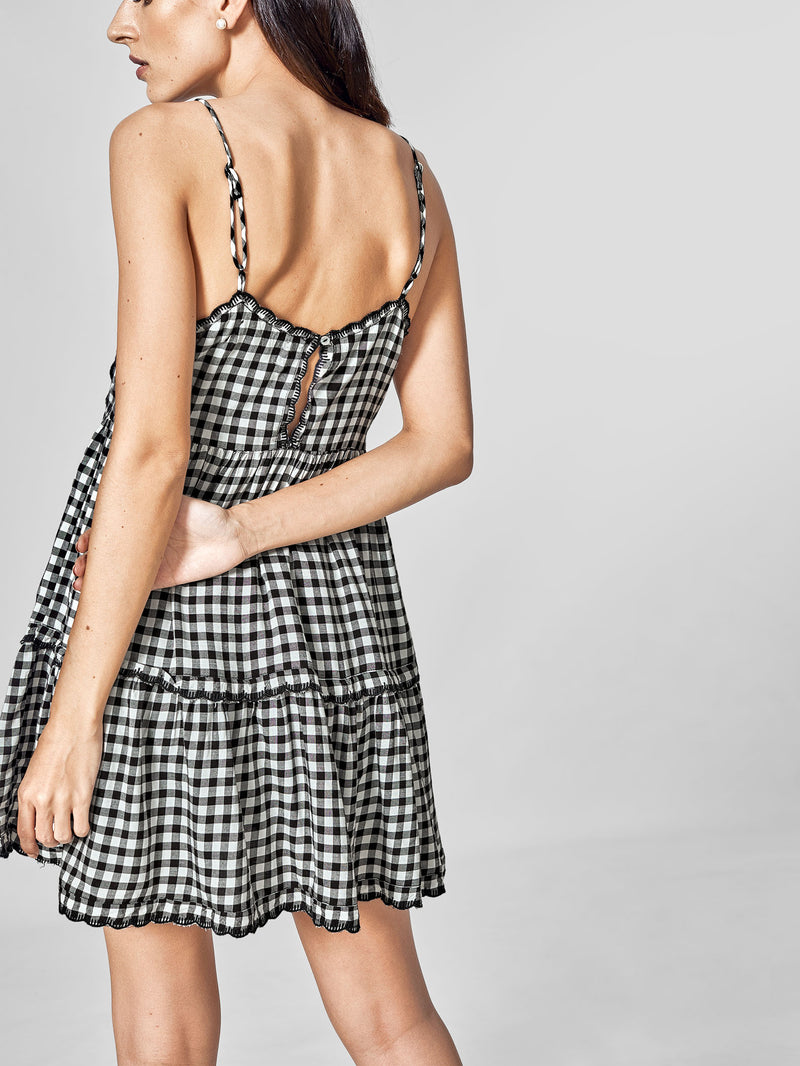 Monochrome Gingham Dress