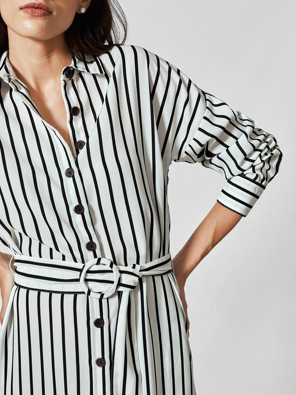 Monochrome Stripe Belted Shirt Dress