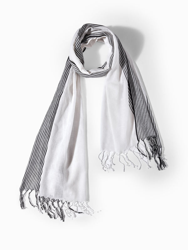 Monochrome Stripe Border Scarf
