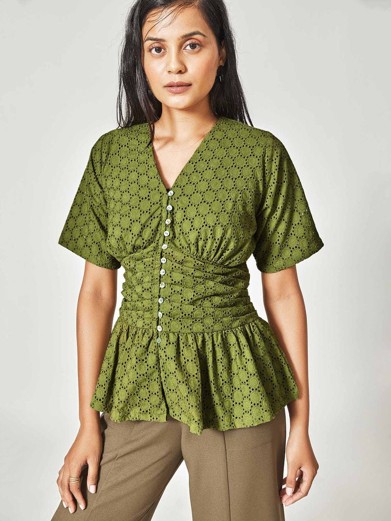 Moss Schiffli Ruched Top