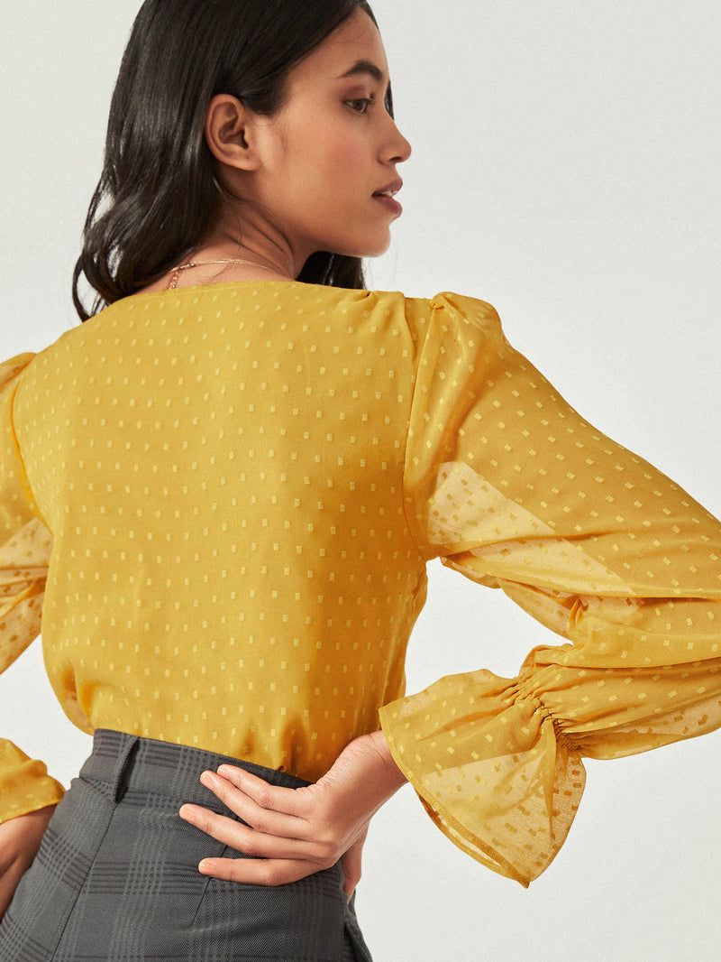 Mustard Cinched Top