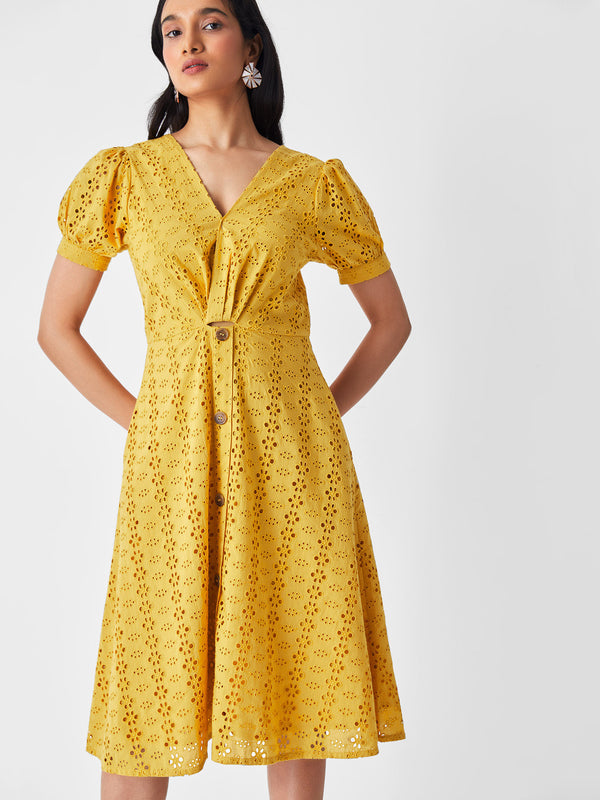 Mustard Schiffli Overlap Midi Dress