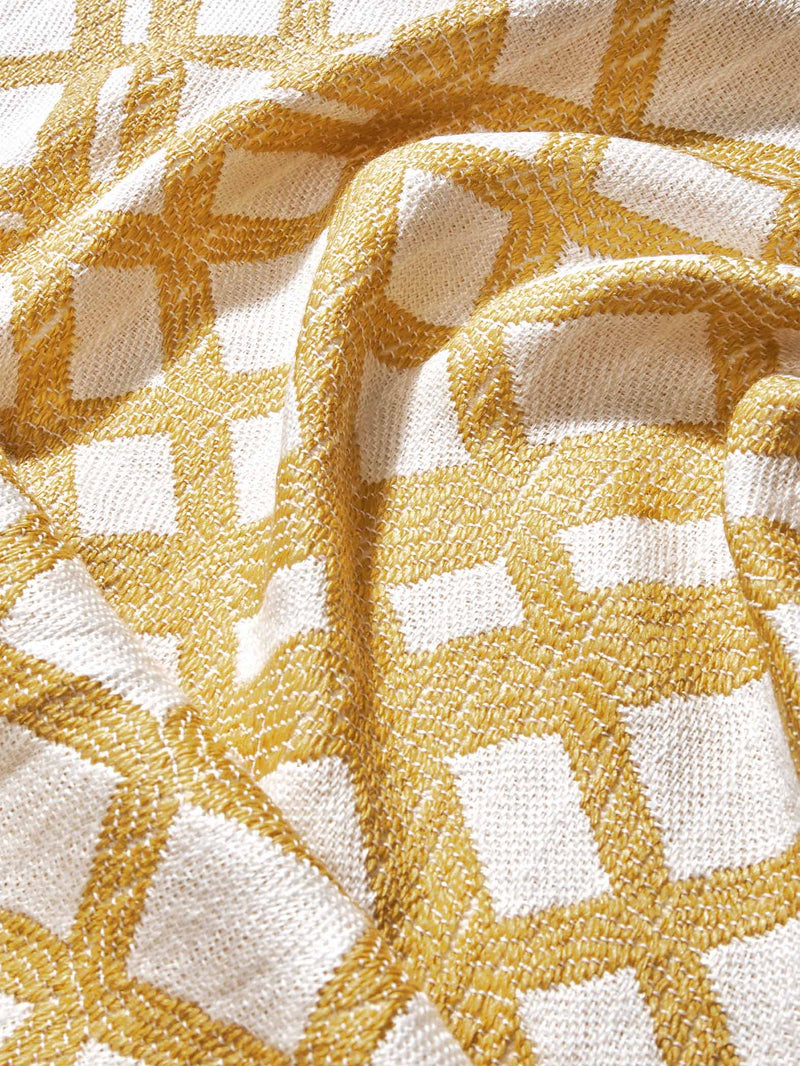 Mustard & White Criss Cross Throw