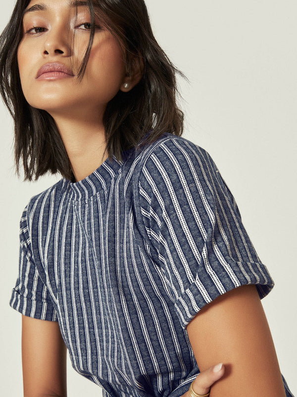 Navy Stripe Front Tie Top