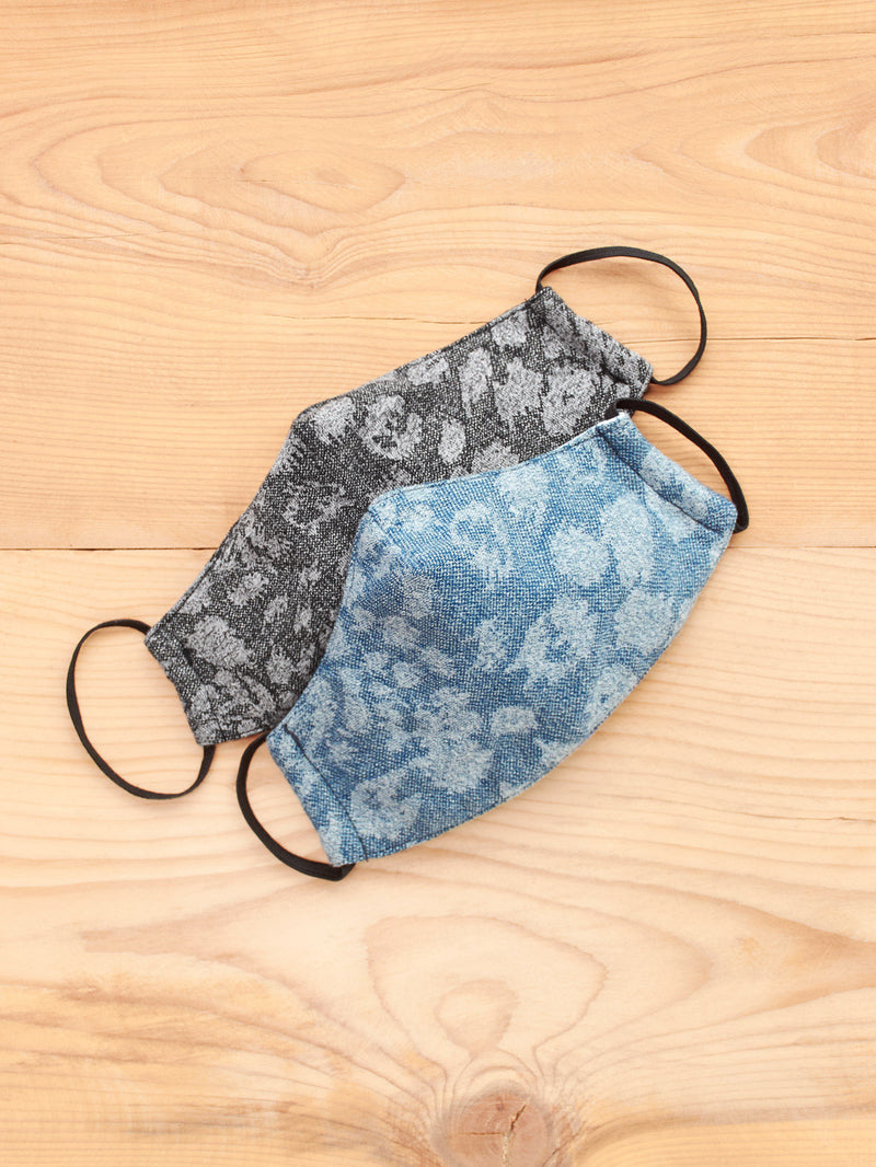Navy & Charcoal Printed Face Mask Set