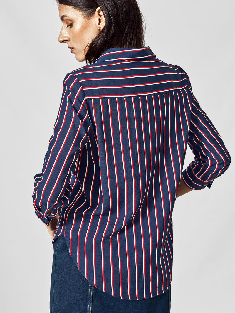 Navy & Scarlet Stripe Top