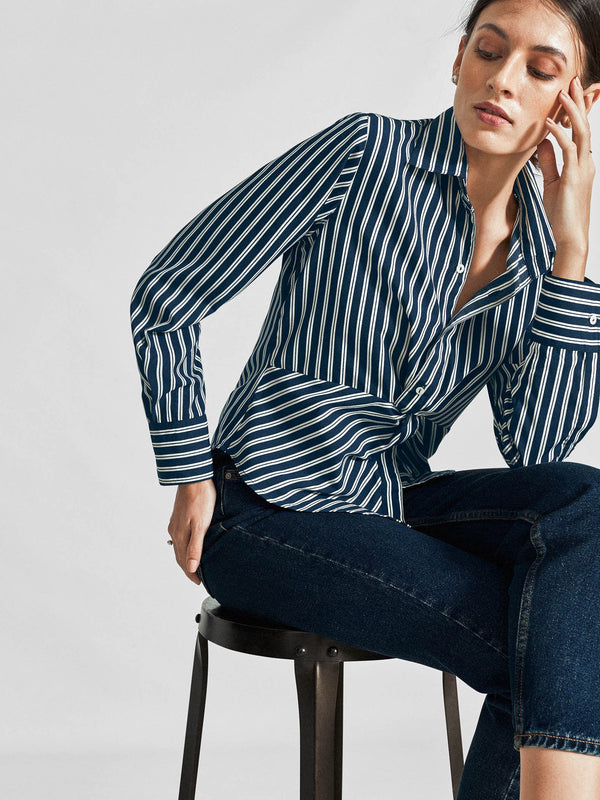 Navy Striped Knotted Shirt