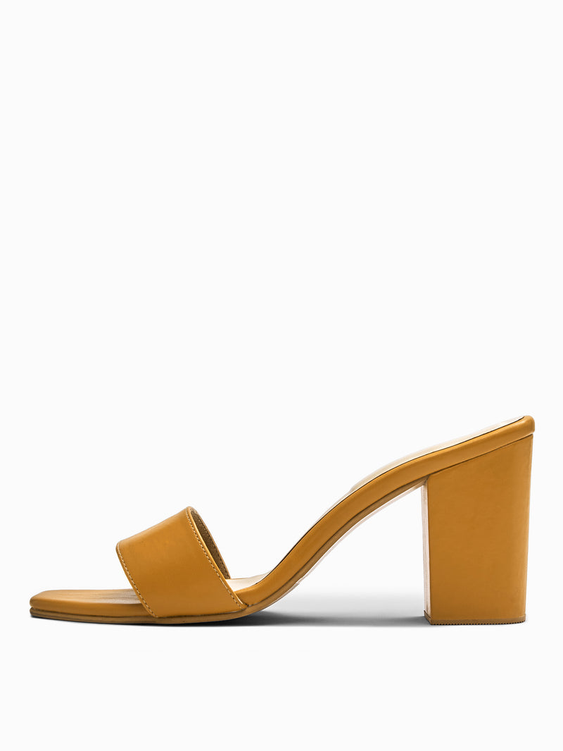 Ochre Square Toe Block Heels