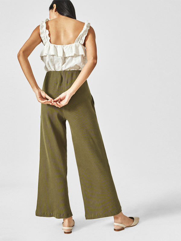 Olive Flare Pocket Pants