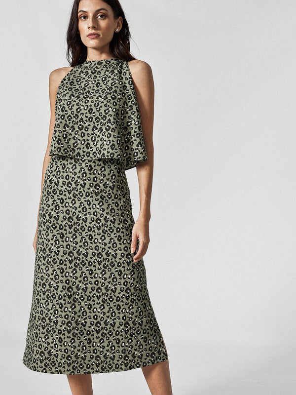 Olive Leopard Overlay Dress