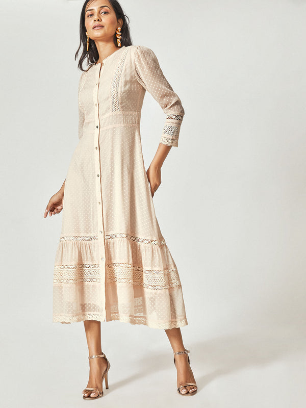 Pale Blush Lace Shirt Dress