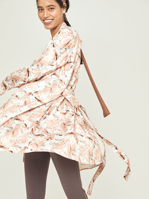 Peach Printed Sleep Robe