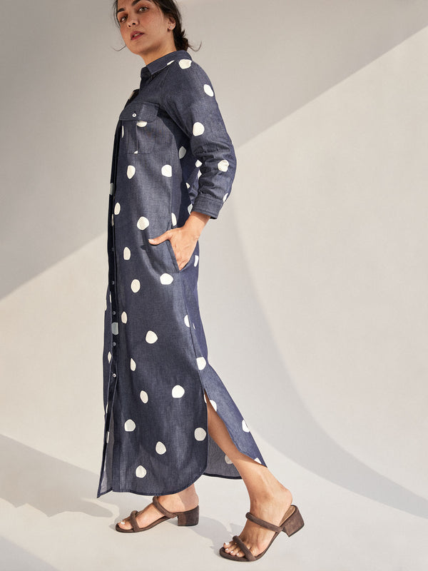 Polka Denim Shirt Dress