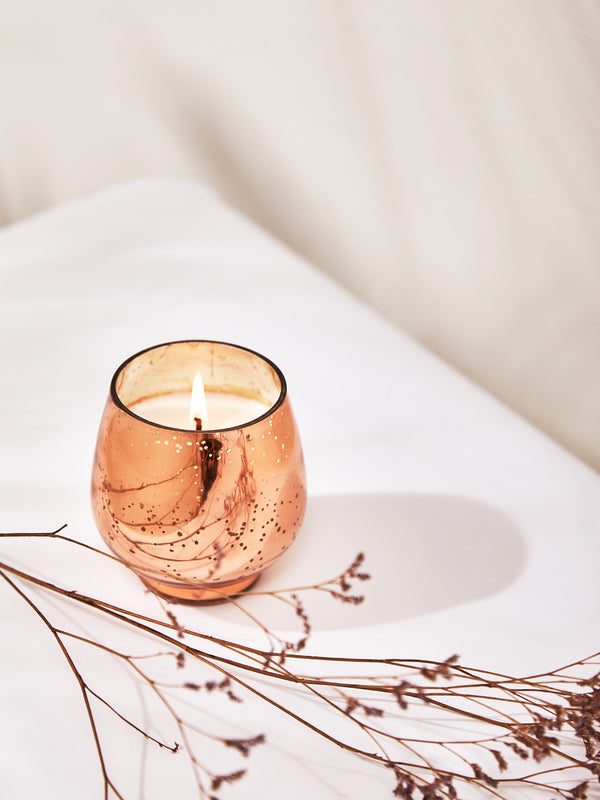 Rose Gold Mercury Glass Candle
