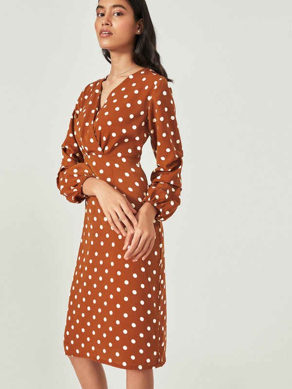 Rust Polka Shift Dress