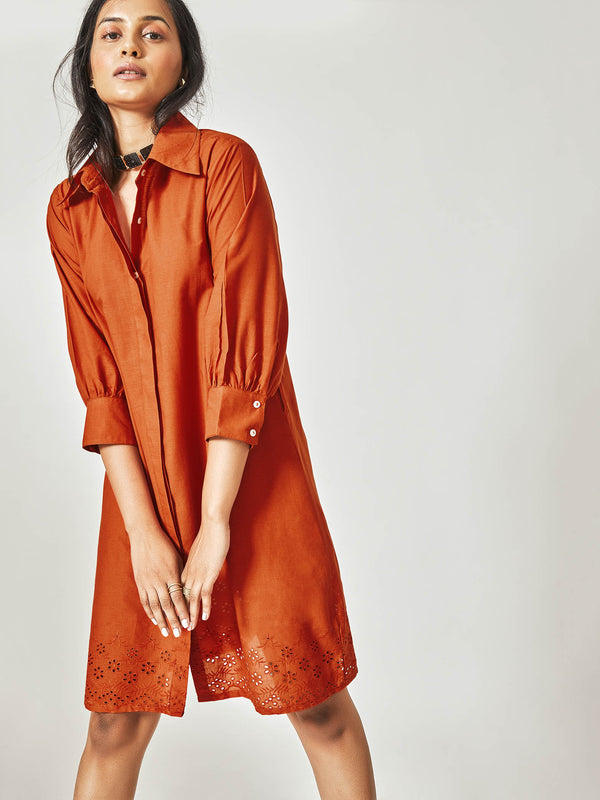 Rust Schiffli Tie Shirt Dress